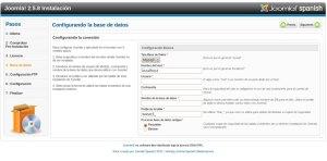 Configurar base datos instalacion joomla
